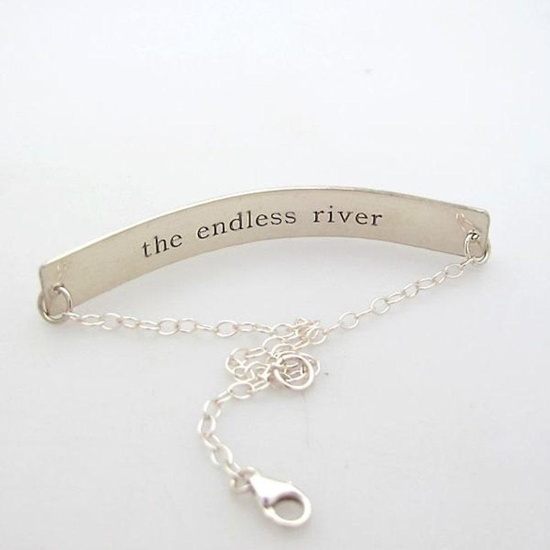 Custom Sterling Silver Bracelet Two sides engrave Nameplate Bar Nameplate Bracelet Secret Message Engraved Personalized Bar Bracelet