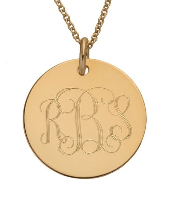 Disc monogram necklace gold initial engraved large pendant etsy disc monogram necklace gold initial engraved large pendant personalized gift round initial pendant medal monogram initial necklace aloadofball Gallery