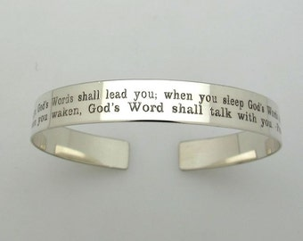 Inspirational Bracelet. Personalized Cuff Bracelet. Message Engraved Bracelet. Custom Quote Bracelet Sterling Silver. 2 Rows Engraved Cuff