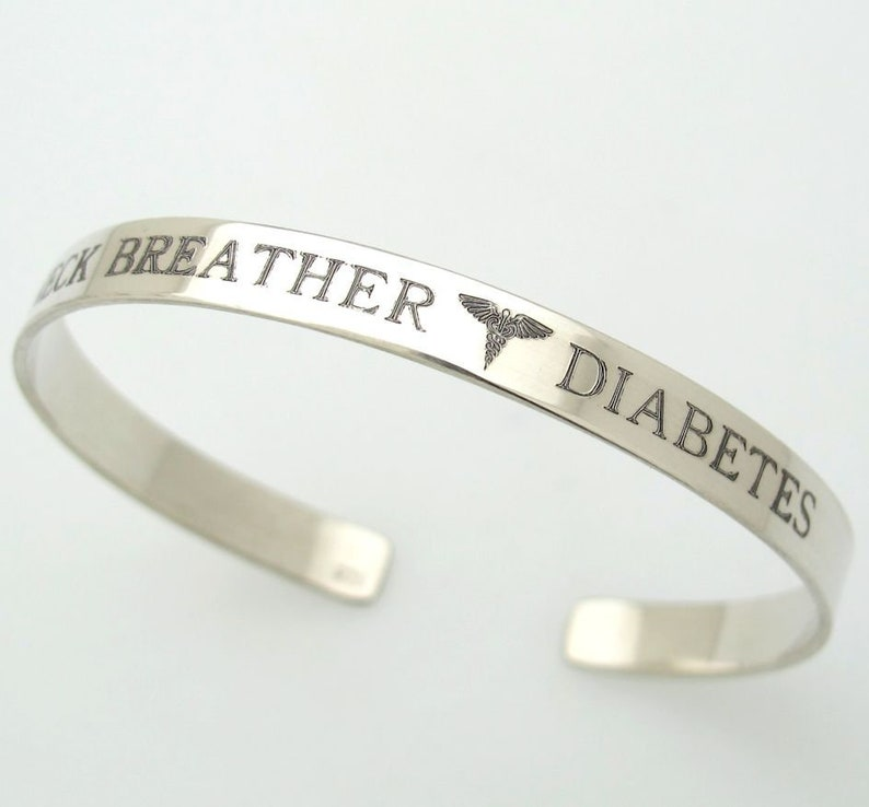 508b88e35991 Diabetes Alert Bracelet. Medical Alert Bracelet. Personalized Cuff, Medical  ID Bracelet, Caduceus Bracelet. Custom Sterling Silver Cuff ID