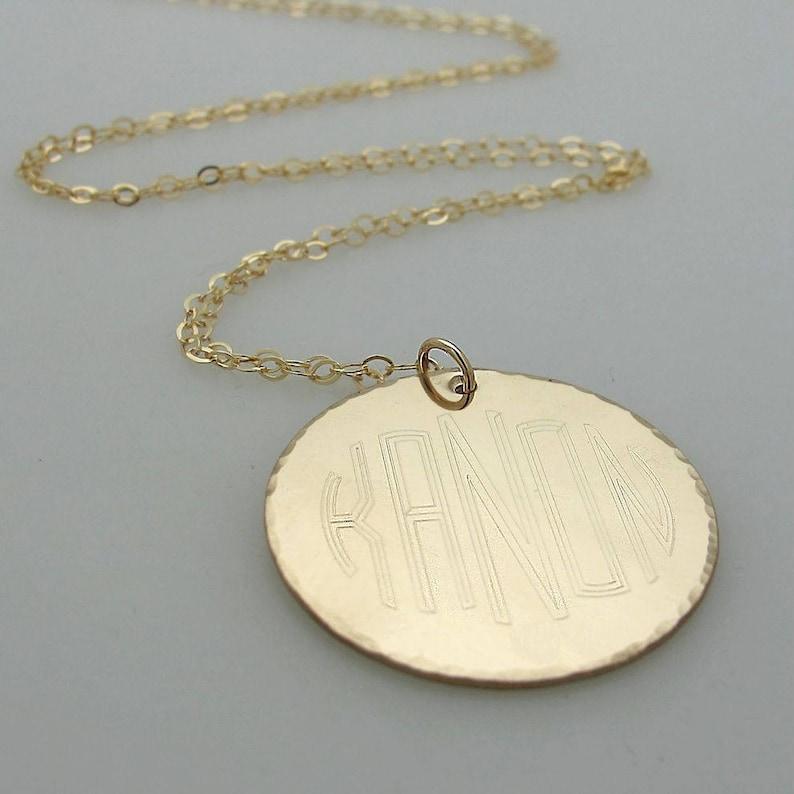 644399544 5 Letter Monogram Pendant Gold Disc Necklace monogram | Etsy