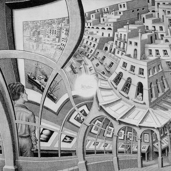 Escher Art 09 cm 70x70 Stampa su tela Printing on canvas  papiarte