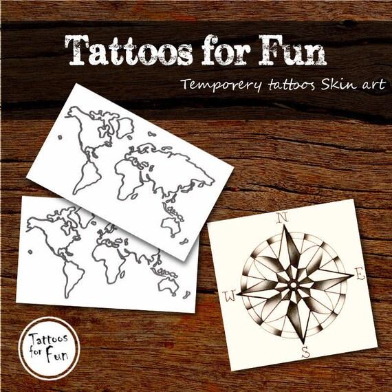 Podróże Tymczasowe Tatuaże Kompas I Mapy Fałszywych Tatuaży Stick Body Art Na Tatts