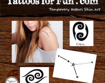 Cancer Zodiac Tattoos - Zodiac Temporary Tattoos - Cancer Fake Tattoo - Constellation Tattoo - Cancer Constellation Tattoo - Cancer Body Art