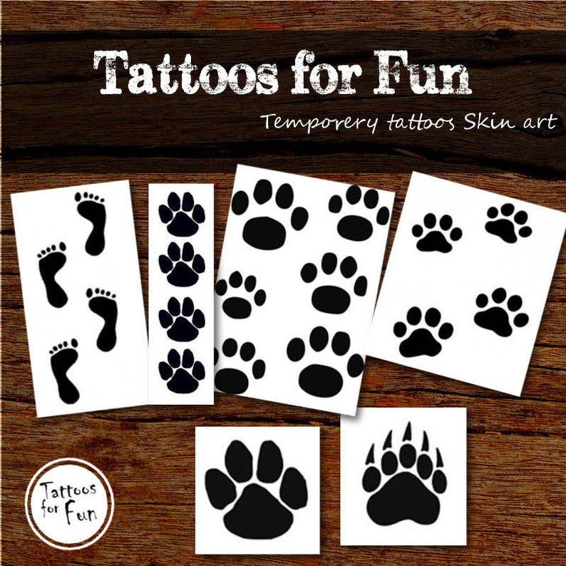 łapy Tymczasowe Tatuaże Szczeniak Paw Druku Fałszywe Tatuaże Zwierzę Stick Na Tatuaże