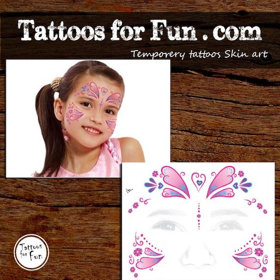 Kind Prinzessin Schmetterling Gesicht Tattoo Kinder Gesicht Etsy