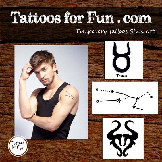 Taurus Zodiac Tattoos Taurus Temporary Tattoo Taurus Etsy