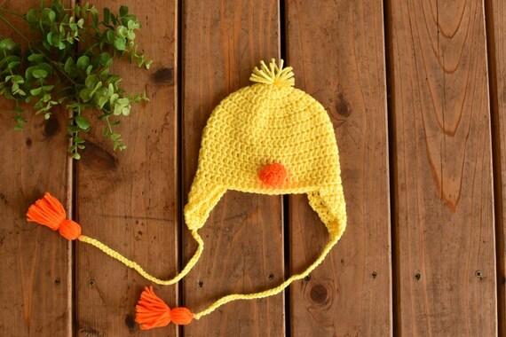 bd014a109 Crochet Baby Duck Hat   1st Birthday Hat   First Birthday Hat   Duck Party  Hat   Baby Ear Flap Hat   Crochet Baby Animal Hat   Baby Farm Hat