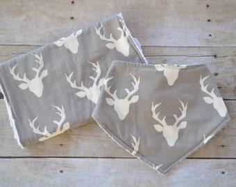Buck Forest Burp Cloth, Antlers Bib, Antlers Burp Cloth, Burp Cloth Set, Bib Gift Set, Baby Shower Gift, Baby Boy Gift