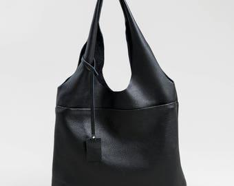 Exclusive Huge Genuine Leather Tote Minimalistic Style Black Color Black Women Bag Simple Genuine Letaher Black Tote