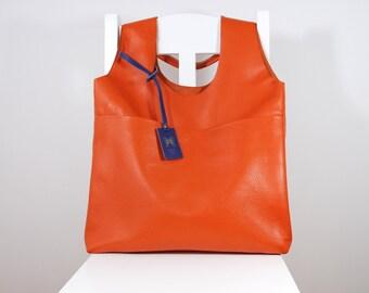 Exklusive große Leder Tote minimalistischen Stil mit Geldbörse Orange Farbe