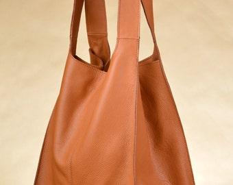 Huge Genuine Leather Broad Shopper Urban Style Camel Color