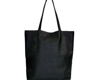 Einfach riesige Leder Tote minimalistischen Stil schwarz