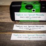 Disposable Camera Labels   Wedding Labels   Event Camera Labels   Camera Labels Set with Color Options