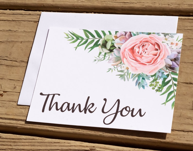 Pink Floral Thank You Notecard Set. Rustic Thank You Note image 0