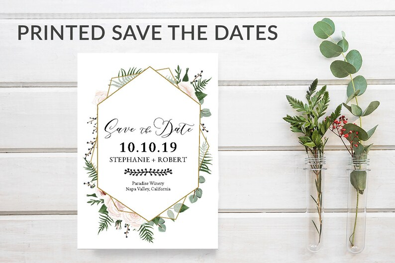 Greenery Save the Date Cards Geometric Save-the-Date Cards image 0