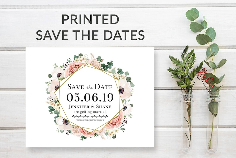Floral Save the Date Cards Rustic Save-the-Date Card Pink image 0