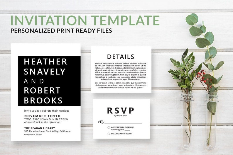 Simple Modern Wedding Invitation Template Set Contemporary image 0