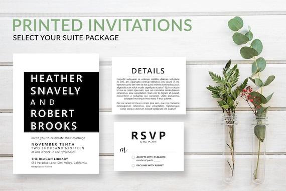 simple modern wedding invitations contemporary invitation etsy