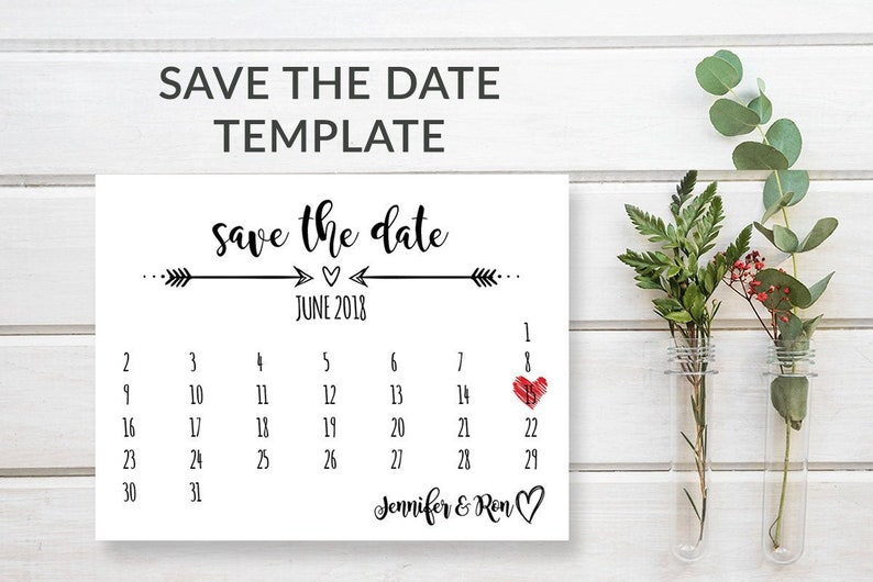 Rustic Save-the-Date Template Download Wedding Calendar Save image 0