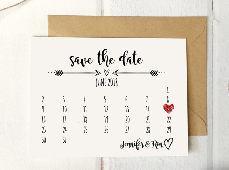 Rustic Calendar Save the Date Template Printable Wedding image 0