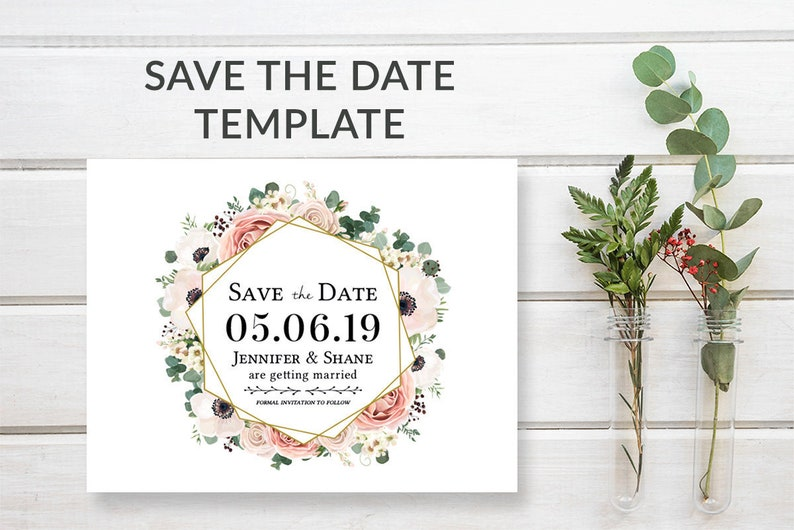 Floral Save-the-Date Template Download Boho Wedding Save the image 0