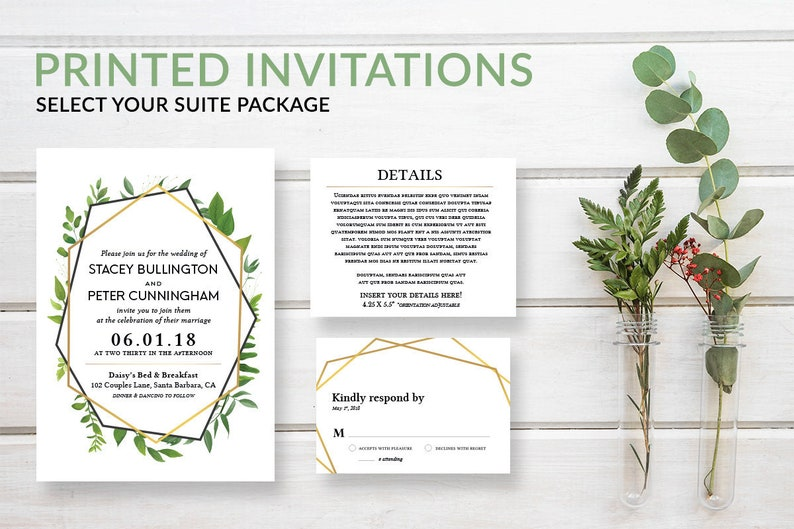 Rustic Greenery Wedding Invitation Set Green and Gold Wedding image 0