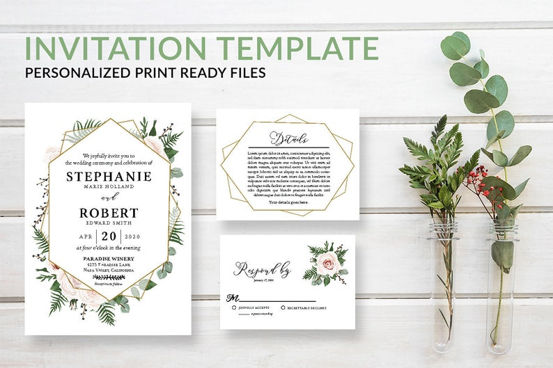 Geometric Greenery Wedding Invitation Template Download PDF image 0
