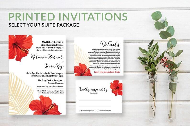Tropical Palm Wedding Invitation Set Destination Wedding image 0