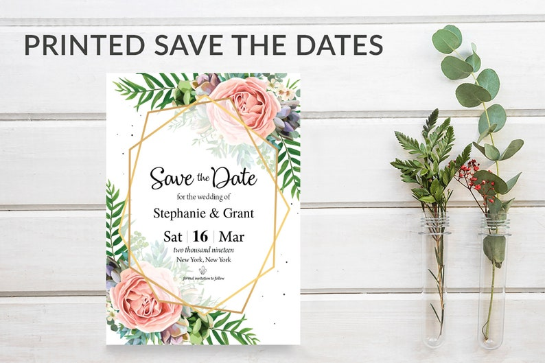 Floral Save the Date Cards Simple Geometric Greenery image 0