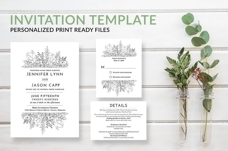 Rustic Wedding Invitation Template Download w/ RSVP Set Boho image 0