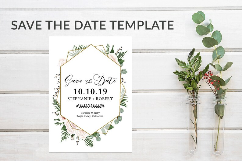Pink Geometric Save the Date Template Download Rustic image 0