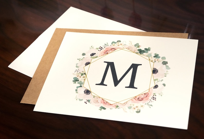 Monogram Blank Cards. Monogram Notecard Set. Rustic Notecards. image 0