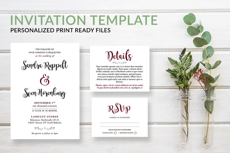 Simple Modern Wedding Invitation Template Download w/ RSVP & image 0
