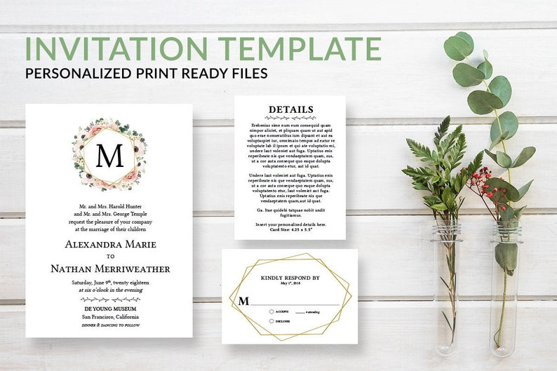 Floral Monogram Wedding Invitation Template Download Set image 0