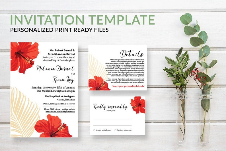 Tropical Palm Wedding Invitation Template Set Nautical image 0