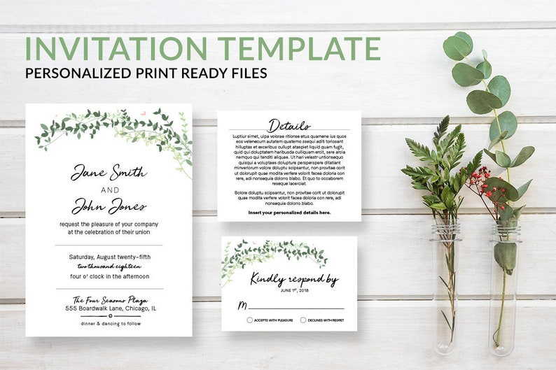 Rustic Boho Greenery Wedding Invitation Template Suite with image 0