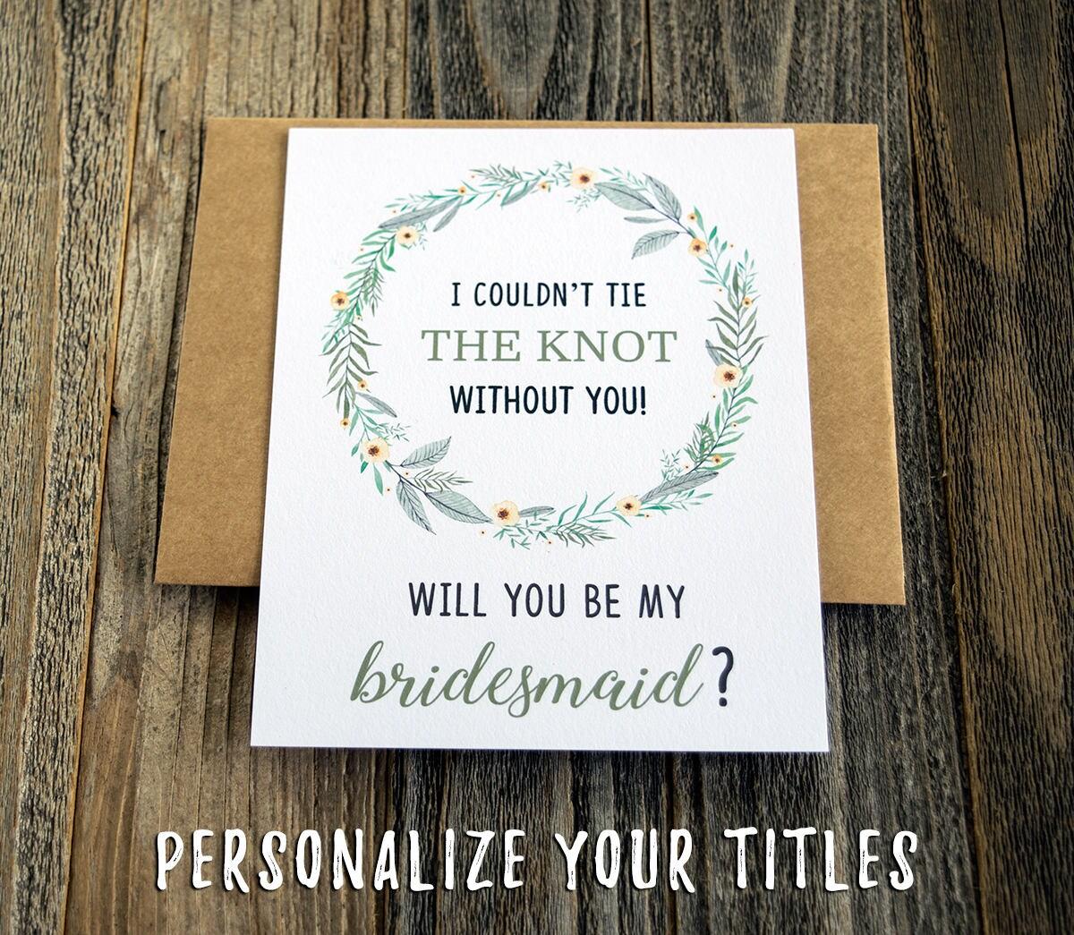 Wedding Party Proposal Card Set. Ask Bridesmaid Cards.
