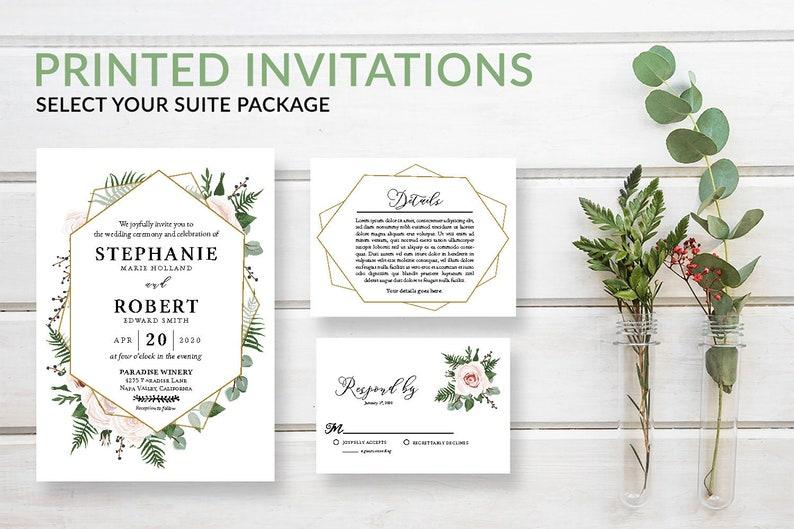 Geometric Greenery Wedding Invitation Suite Rustic Pink image 0