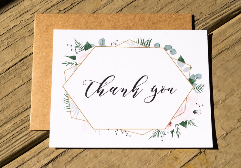 Rustic Geometric Greenery Thank You Note Cards Set Thank You image 0