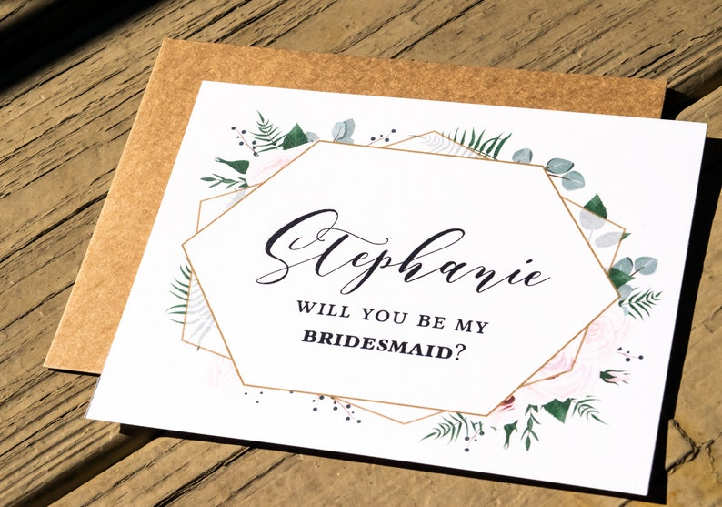 Will you be my Bridesmaid Card with Name Personalized Wedding image 0