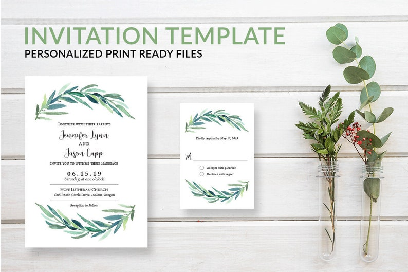 Rustic Greenery Wreath Wedding Invitation Template Download image 0