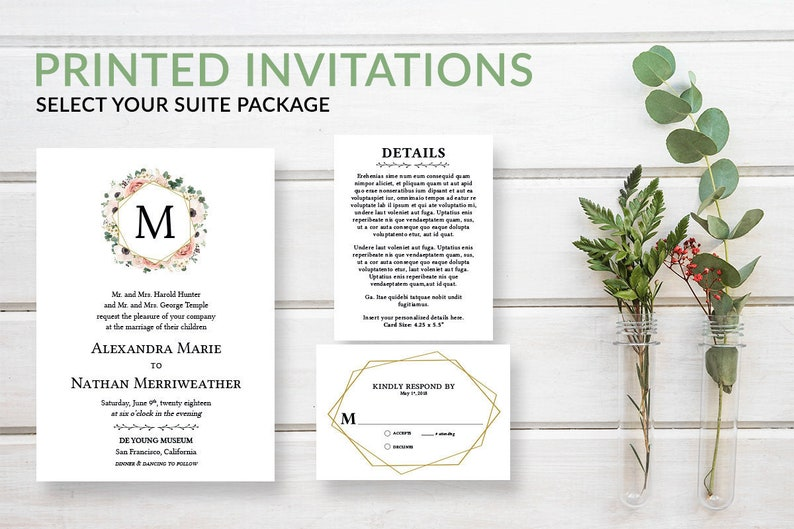 Gold Floral Monogram Wedding Invitation Suite Set Pink Boho image 0