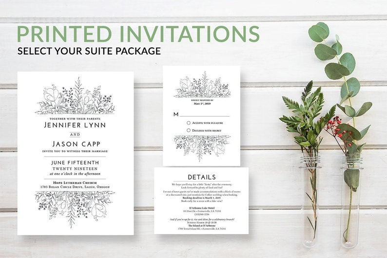 Rustic Greenery Wedding Invitation Set Boho Wreath Invite image 0