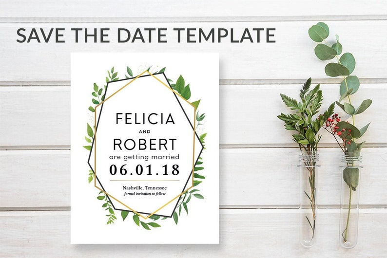 Rustic Greenery Save-the-Date Template Download Green & Gold image 0