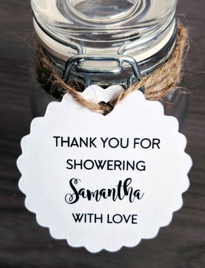 Custom Thank You for Showering with Love Tags Bridal Shower image 0