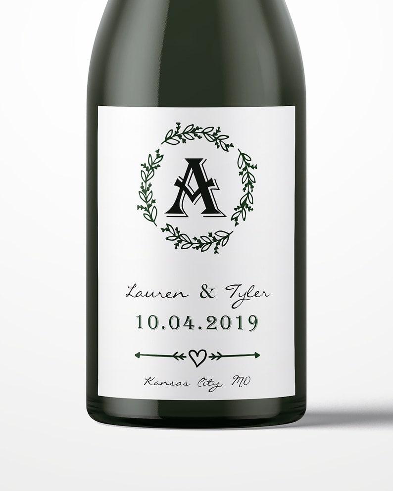 Monogram Wedding Wine Labels Personalized Wine Label Custom image 0