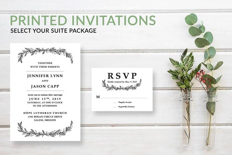 Rustic Greenery Wreath Wedding Invitation Suite Simple image 0