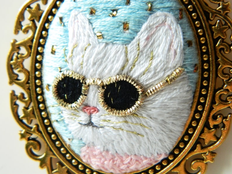 pendant cat with sunglasses embroidery jewelry kitty embroidery necklace glam cat pendant first anniversary gift for her white cat jewelry