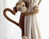 Amigurumi tie back,1 pcs Monkey curtain tie back,crochet animal curtain tiebacks,Monkey tie backs,Curtain tie backs,Monkey curtains,Nursery